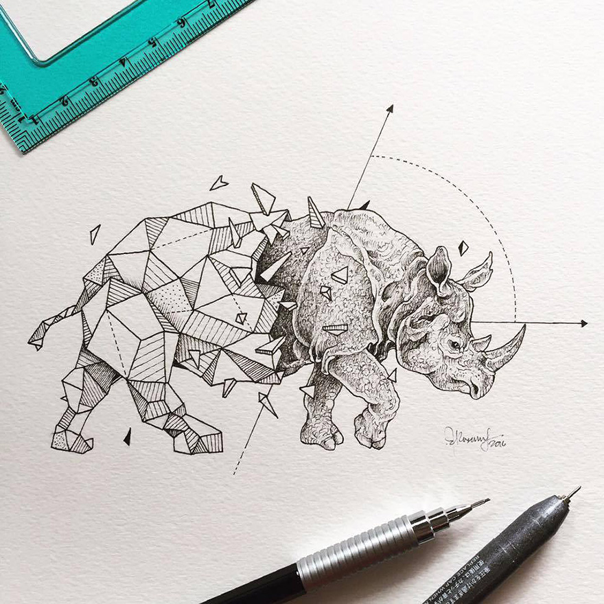 Beauty Wild Animals Intricate Drawings Fused With Geometric Shapes 01 Wild Animals Intricate Drawings Fused With Geometric Shapes