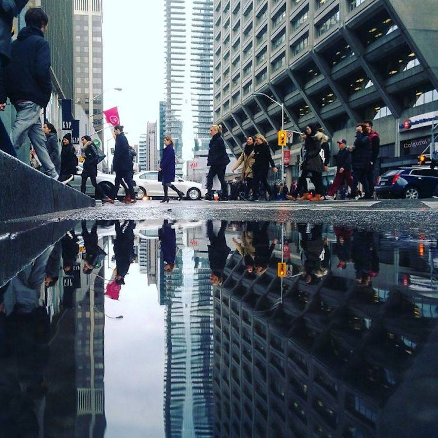 Creative Photography Concept : Parallel Worlds of City Rain Reflections