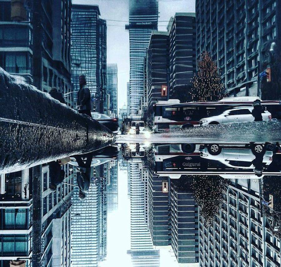 Creative Photography Concept with Parallel Worlds of City Rain Reflections 02