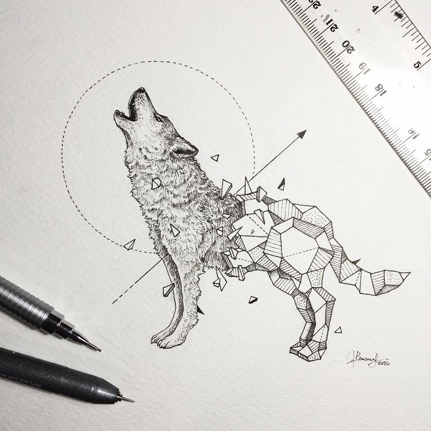 Wild Animals Intricate Drawings Fused With Geometric Shapes 01 Wild Animals Intricate Drawings Fused With Geometric Shapes
