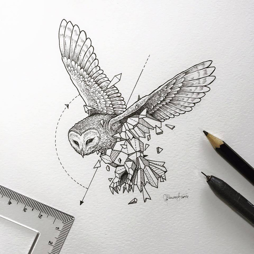 Wild Animals Intricate Drawings Fused With Geometric Shapes by Kerby Rosanes 02 Wild Animals Intricate Drawings Fused With Geometric Shapes