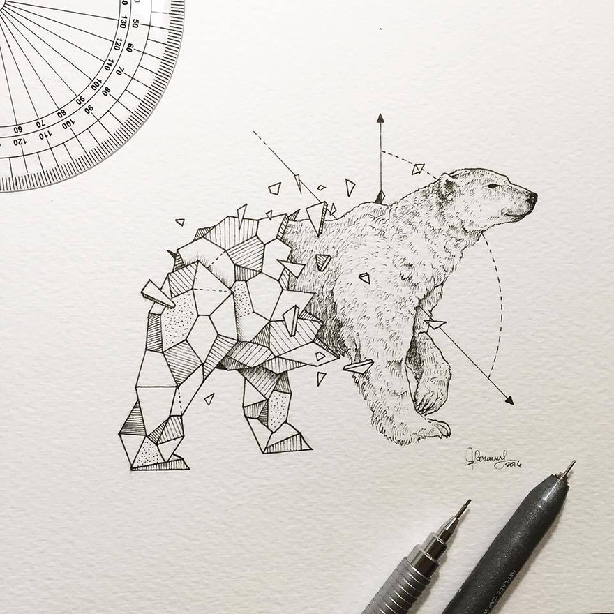 Wild Animals Intricate Drawings Fused With Geometric Shapes by Kerby Rosanes 3 Wild Animals Intricate Drawings Fused With Geometric Shapes