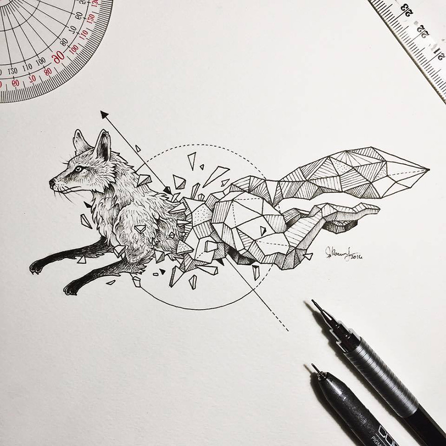 Wild Animals Intricate Drawings Fused With Geometric Shapes by Kerby Rosanes Wild Animals Intricate Drawings Fused With Geometric Shapes