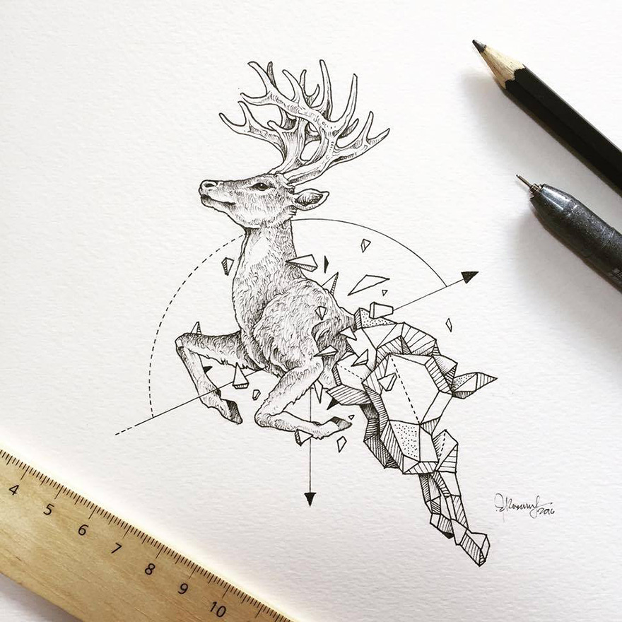 Wild Animals Intricate Drawings by Kerby Rosanes 77 Wild Animals Intricate Drawings Fused With Geometric Shapes