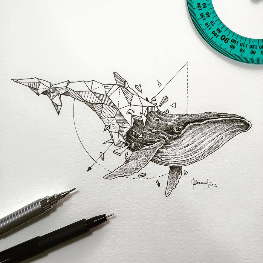 Wild Animals Intricate Drawings by Kerby Rosanes 771 Wild Animals Intricate Drawings Fused With Geometric Shapes