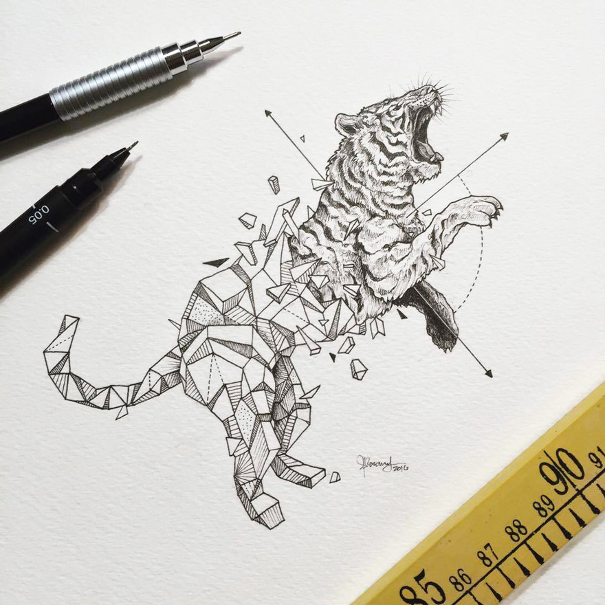 Wonderful Wild Animals Drawings by Kerby Rosanes 77 Wild Animals Intricate Drawings Fused With Geometric Shapes