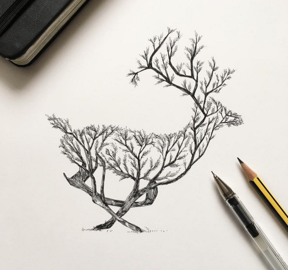 Awesome sketches pen drawings by alfred basha 99inspiration for Cool easy pen drawings