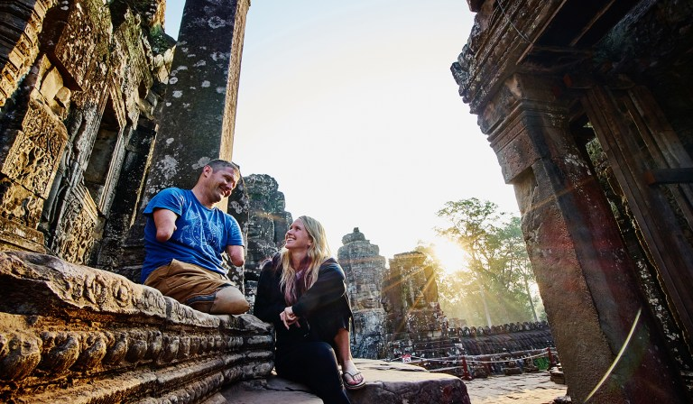 Bayon temple Cambodia. Photo by Benjamin Wong Photographers Capturing Inspiring Journey of a Man Without Arms and Legs