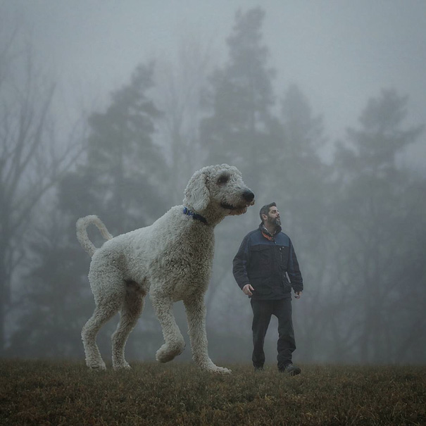 Cute Photoshop manipulations With Giant Dog by Christopher Cline 02 Wonderful Imaginative Adventures With Giant Dog by Christopher Cline