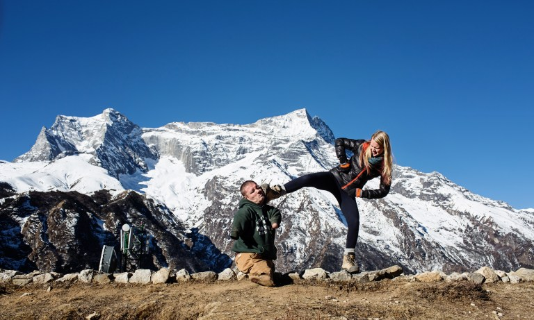 Everest viewpoint Namche Bazaar Nepal Photographers Capturing Inspiring Journey of a Man Without Arms and Legs
