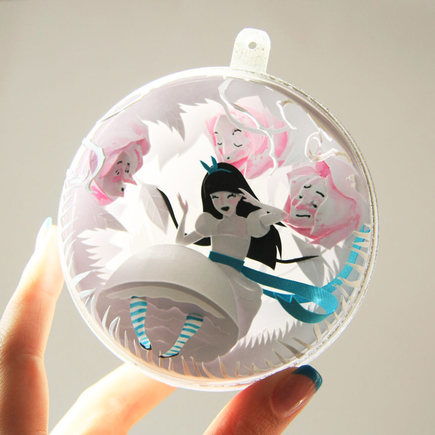 "Tiny Paper Cuts Create by Adamova Marina 03 Creative Paper Cuts Inspired By ""Alice In Wonderland"""