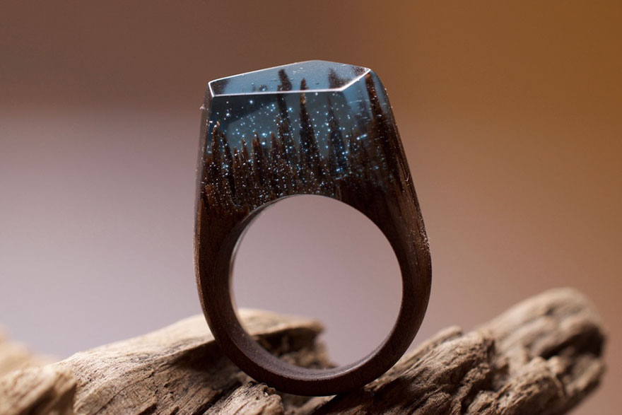 Miniature Scenes Rings Secret Forest 33 Creative Art : Miniature Worlds Inside Wooden Rings