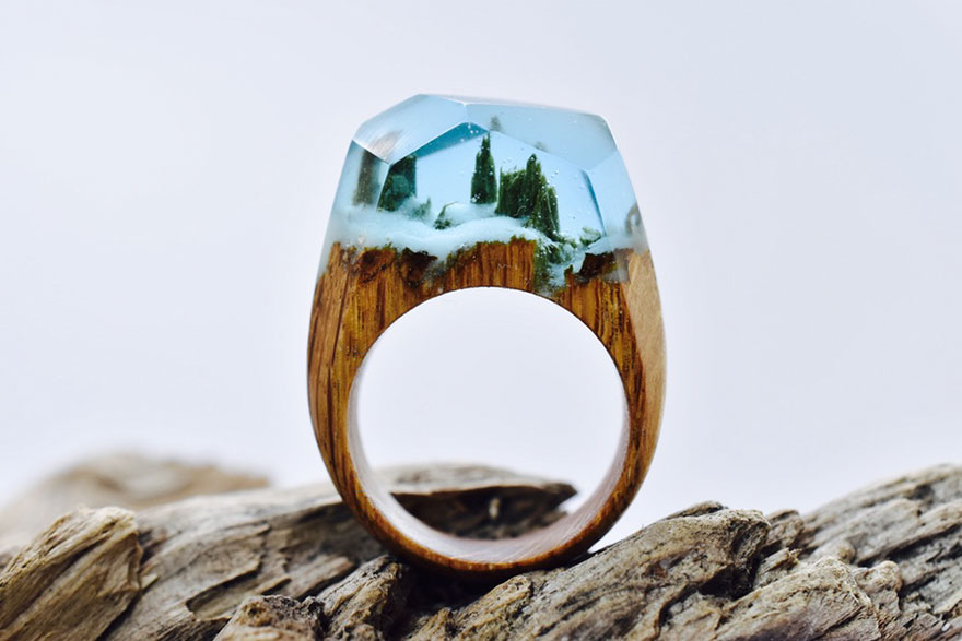 Miniature Scenes Rings Secret Forest 77 Creative Art : Miniature Worlds Inside Wooden Rings