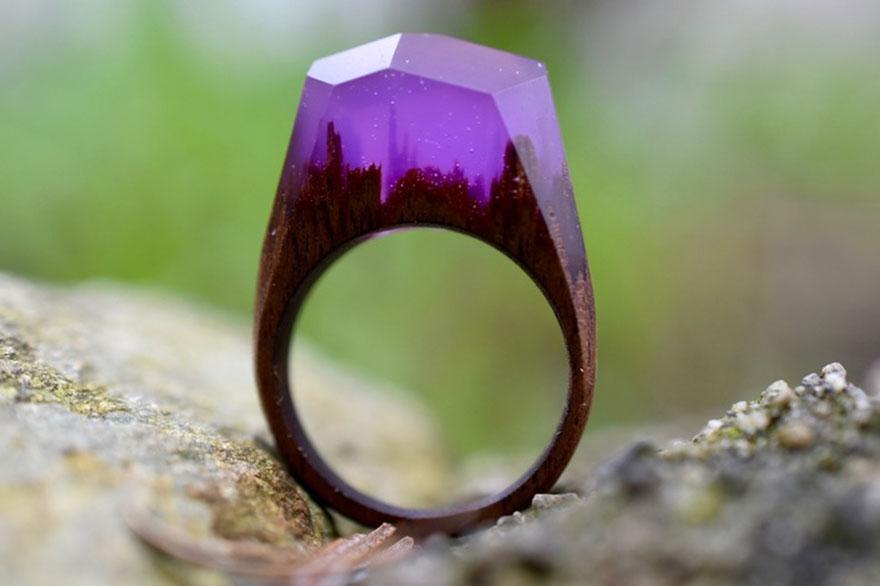 Miniature Scenes Rings Secret Forest 99 Creative Art : Miniature Worlds Inside Wooden Rings