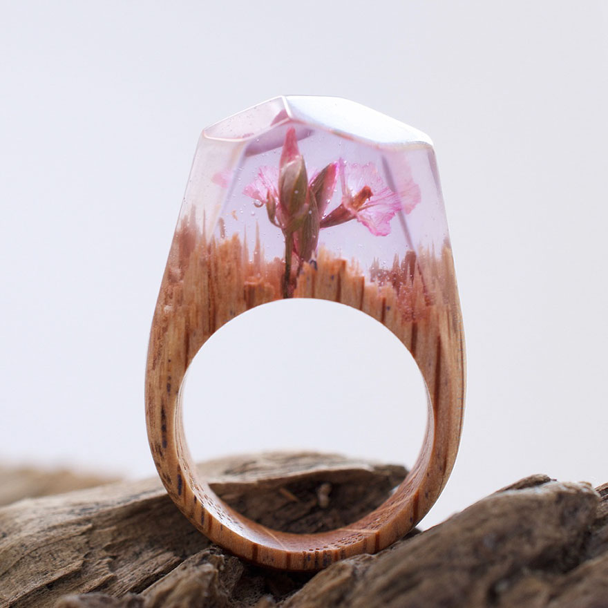 Unique Rings with Miniature Worlds Inside 99 Creative Art : Miniature Worlds Inside Wooden Rings