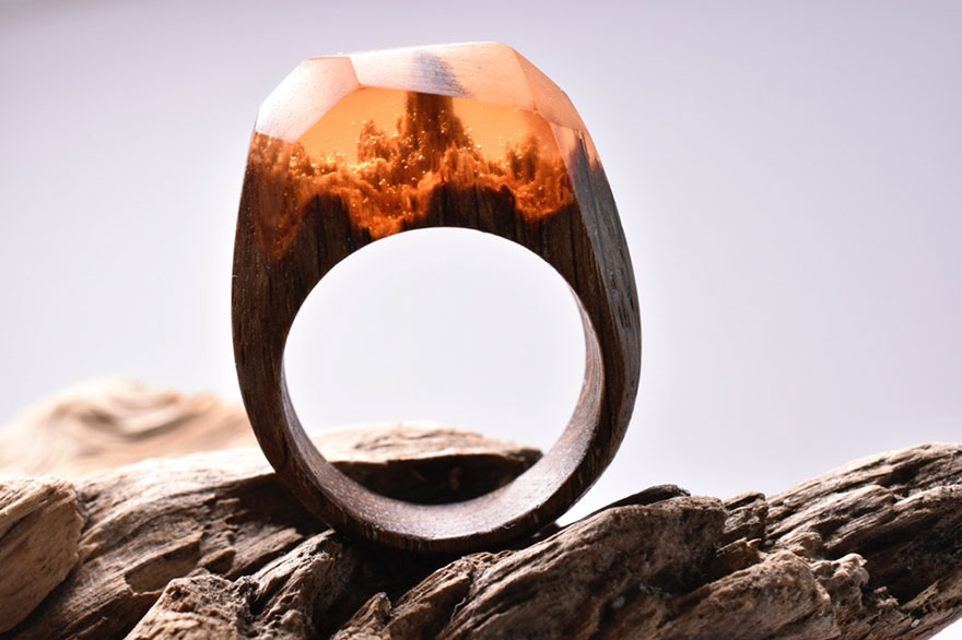 Unique Wooden Rings with Miniature World Inside 99 Creative Art : Miniature Worlds Inside Wooden Rings