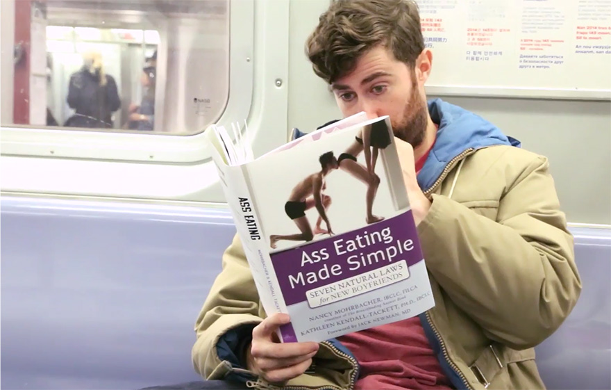 funny fake book covers nyc subway prank scott rogowsky 02 Guy Takes Fake Book Covers Onto Subway To See How People React