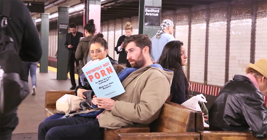 funny fake book covers nyc subway prank scott rogowsky 04 Guy Takes Fake Book Covers Onto Subway To See How People React