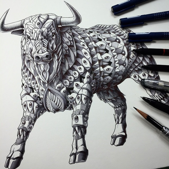 Detailed Black and white Animal Illustrations by Ben Kwok 99 Stunning Black and white Animal Illustrations by Ben Kwok