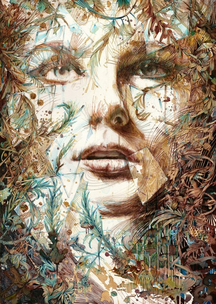 Amazing Painting Art by Carne Griffiths 728x1024 Creative Paintings Using Ink, Tea, Alcohol, And Embroidery