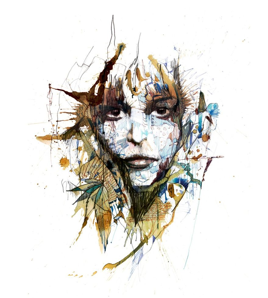 Creative Painting Art by Carne Griffiths Creative Paintings Using Ink, Tea, Alcohol, And Embroidery