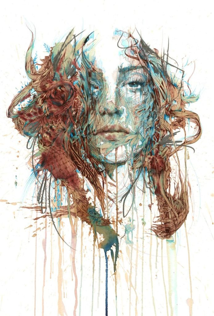 Creative Painting Ideas by Carne Griffiths 695x1024 Creative Paintings Using Ink, Tea, Alcohol, And Embroidery