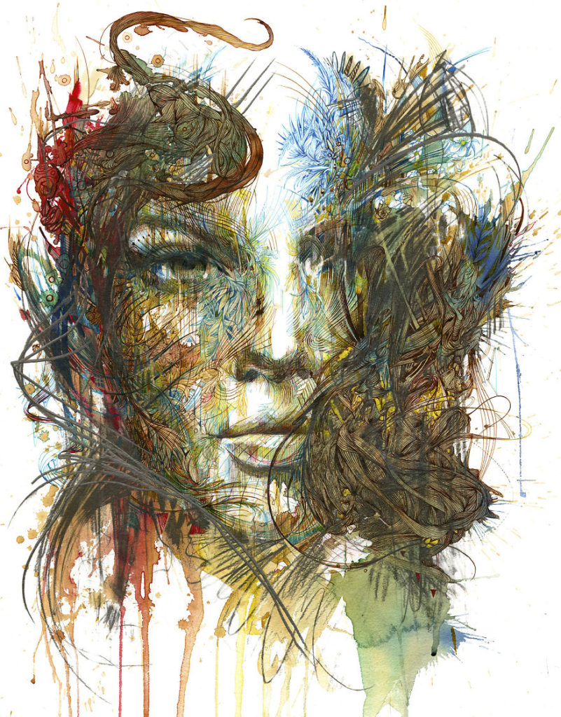 Creative Painting Ideas by Carne Griffiths 99 801x1024 Creative Paintings Using Ink, Tea, Alcohol, And Embroidery