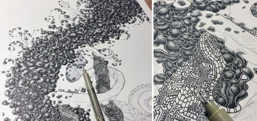 Millions Of Dots Form Fantastical Pen Drawings by Kyle Leonard