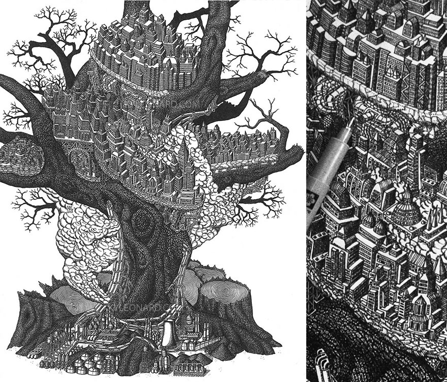 Incredible Of Dots Fantastical Pen Drawings by Kyle Leonard Millions Of Dots Form Fantastical Pen Drawings by Kyle Leonard