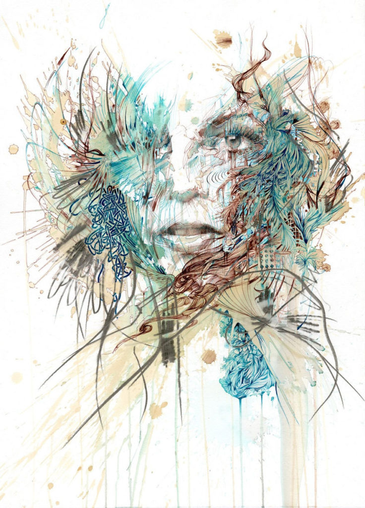 Incredilbe Painting Art by Carne Griffiths 736x1024 Creative Paintings Using Ink, Tea, Alcohol, And Embroidery