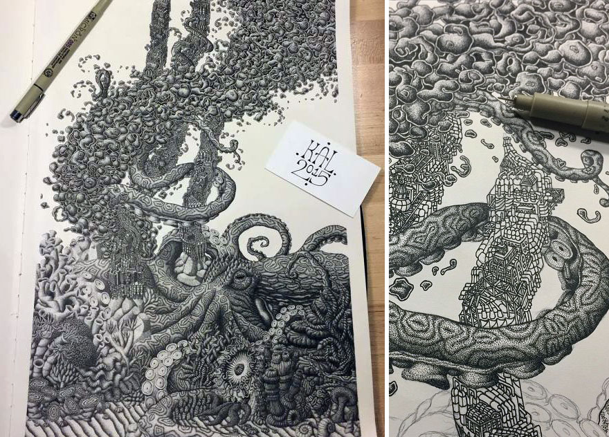 Millions Of Dots Fantastical Pen Drawings by Kyle Leonard 99 Millions Of Dots Form Fantastical Pen Drawings by Kyle Leonard