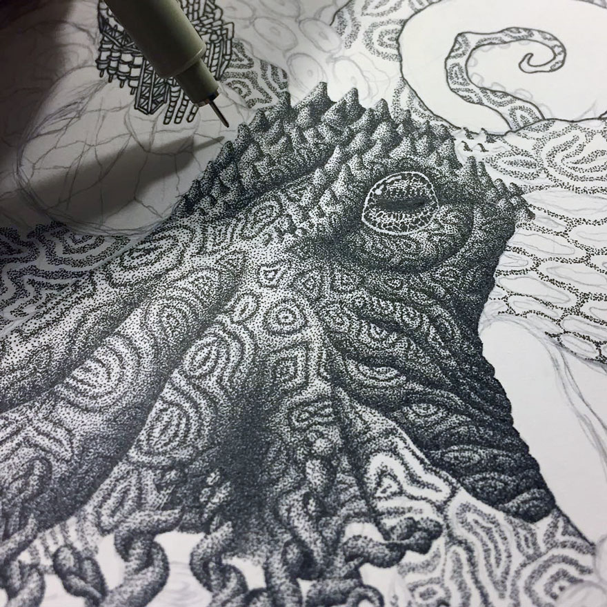 Millions Of Dots Form Fantastical Pen Drawings by Kyle Leonard 77 Millions Of Dots Form Fantastical Pen Drawings by Kyle Leonard