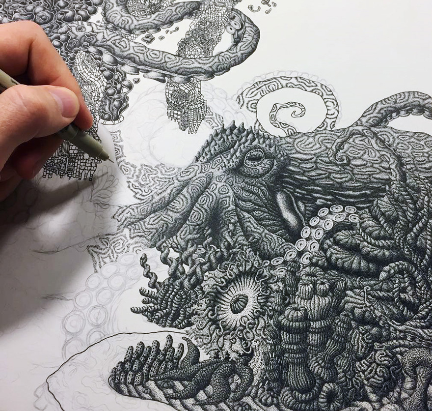 Millions Of Dots Form Fantastical Pen Drawings by Kyle Leonard 99 Millions Of Dots Form Fantastical Pen Drawings by Kyle Leonard