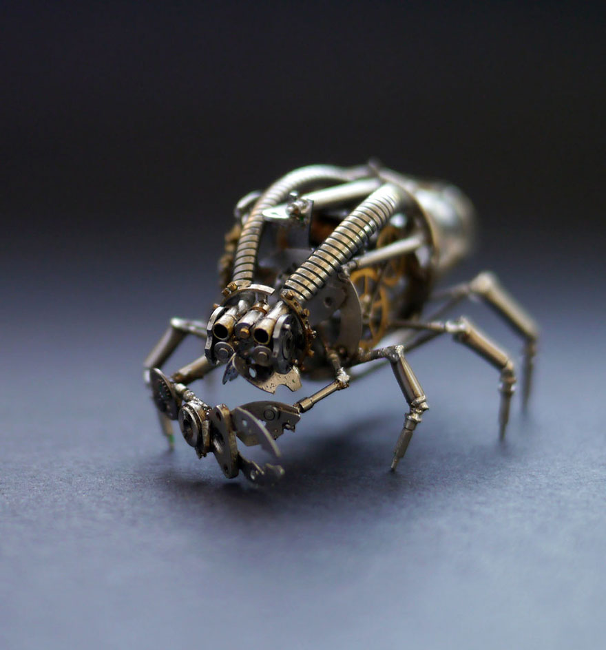 Recycled Art concept from Watch Parts Spine Chilling Insects And Spiders From Recycled Watch Parts