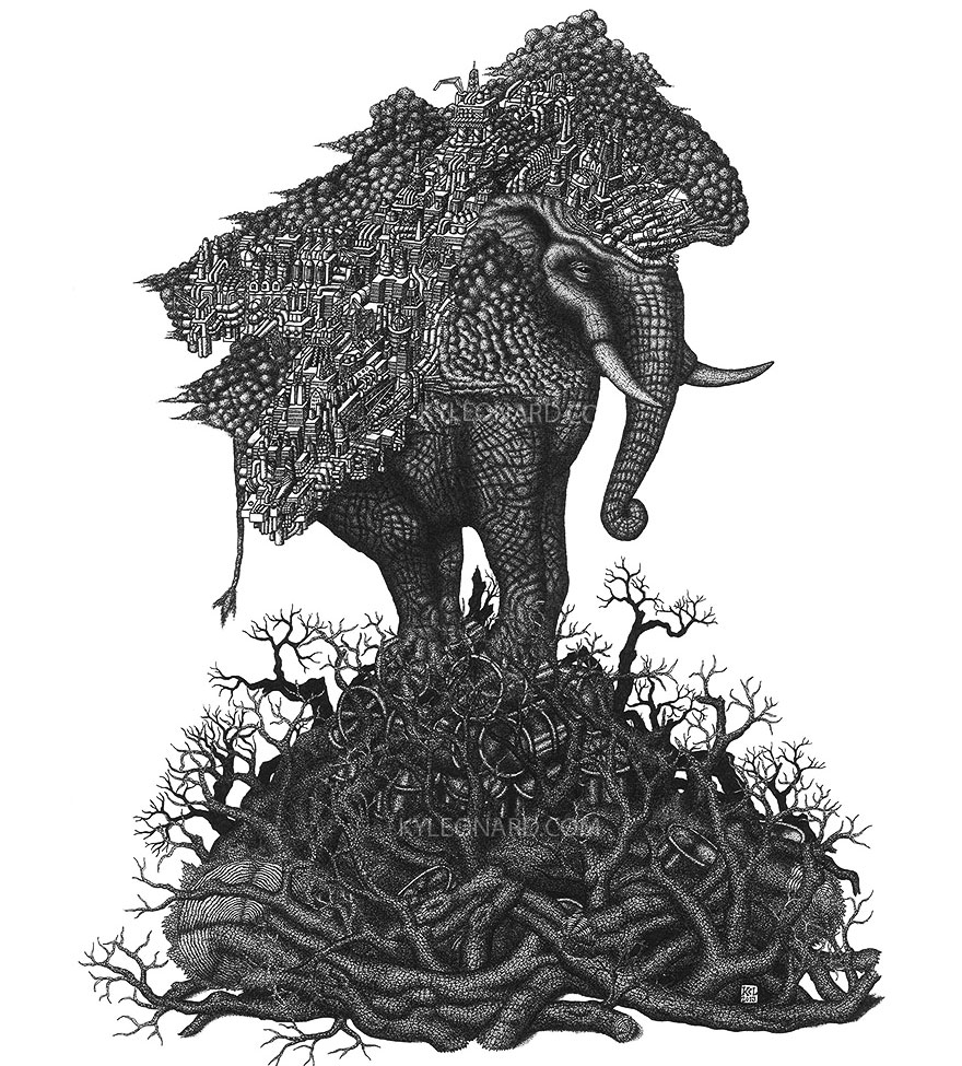 Stunning Of Dots Fantastical Pen Drawings by Kyle Leonard 99 Millions Of Dots Form Fantastical Pen Drawings by Kyle Leonard