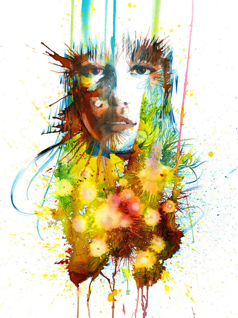 Stunning Painting Art by Carne Griffiths 766x1024 Creative Paintings Using Ink, Tea, Alcohol, And Embroidery