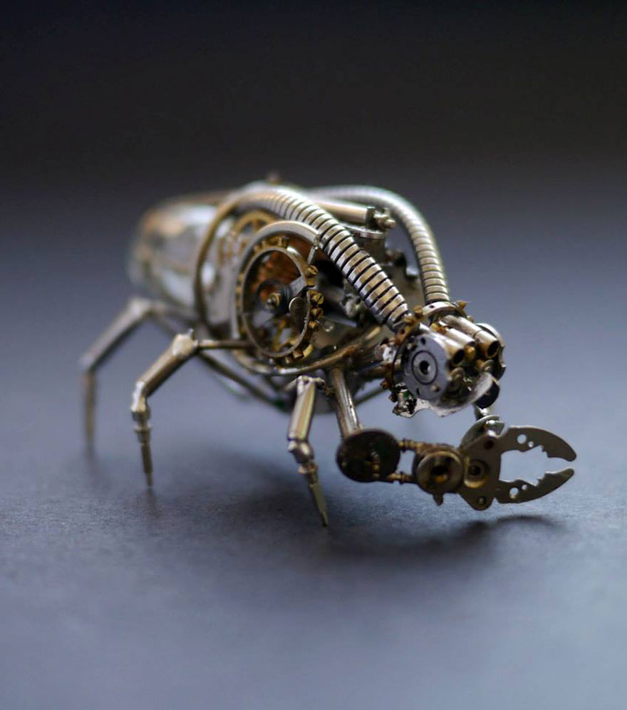 Unique Art Used Recycled Watch Parts Spine Chilling Insects And Spiders From Recycled Watch Parts