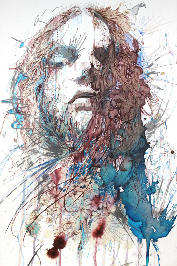 Unique Concept Painting Art by Carne Griffiths 683x1024 Creative Paintings Using Ink, Tea, Alcohol, And Embroidery