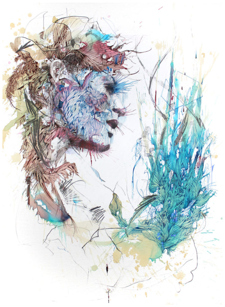 Unique Concept Painting by Carne Griffiths 753x1024 Creative Paintings Using Ink, Tea, Alcohol, And Embroidery