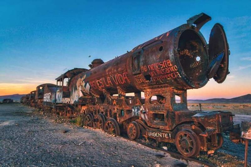 Cemetery of Abandoned Trains in Bolivia by Chris Staring