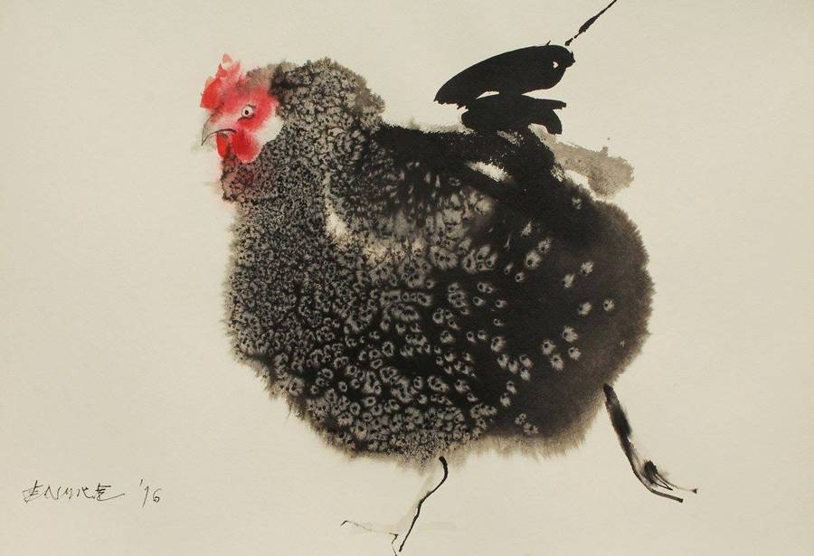 Creative Ink Paintings of Chickens