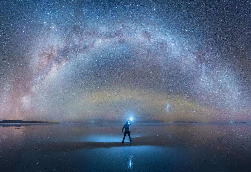 Beautiful Milky Way Reflected in Bolivia Salt Flats by Daniel Kordan