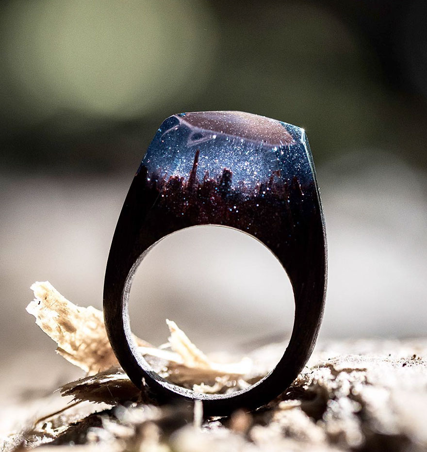 New Miniature Worlds Inside Wooden Rings 2