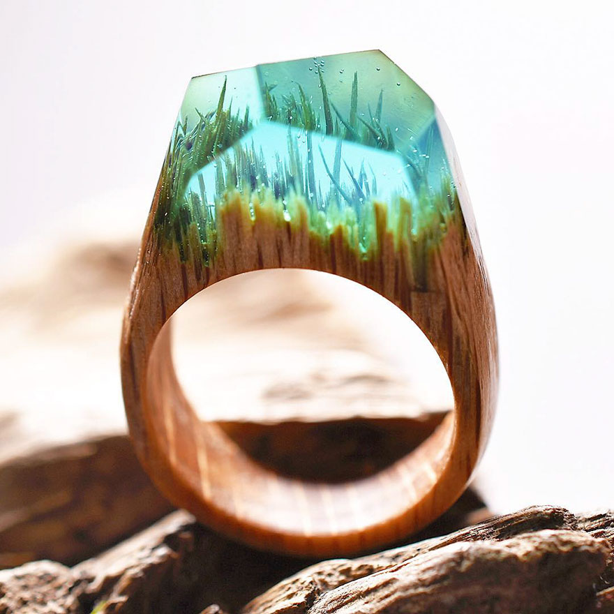 New Miniature Worlds Inside Wooden Rings 4 New Miniature Worlds Inside Wooden Rings Capture The Beauty Of Different Seasons