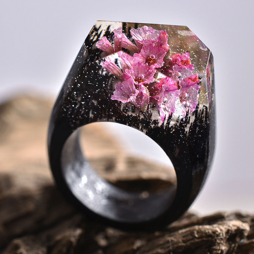 Stunning New Miniature Worlds Inside Wooden Rings 77