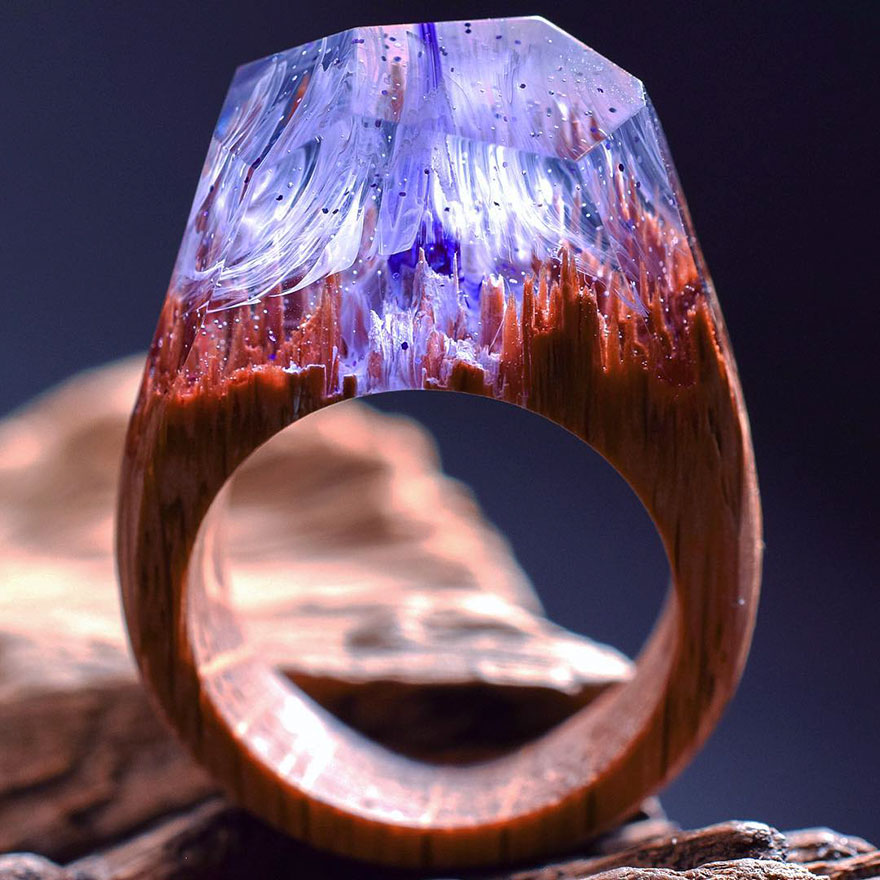 Wonderful New Miniature Worlds Inside Wooden Rings
