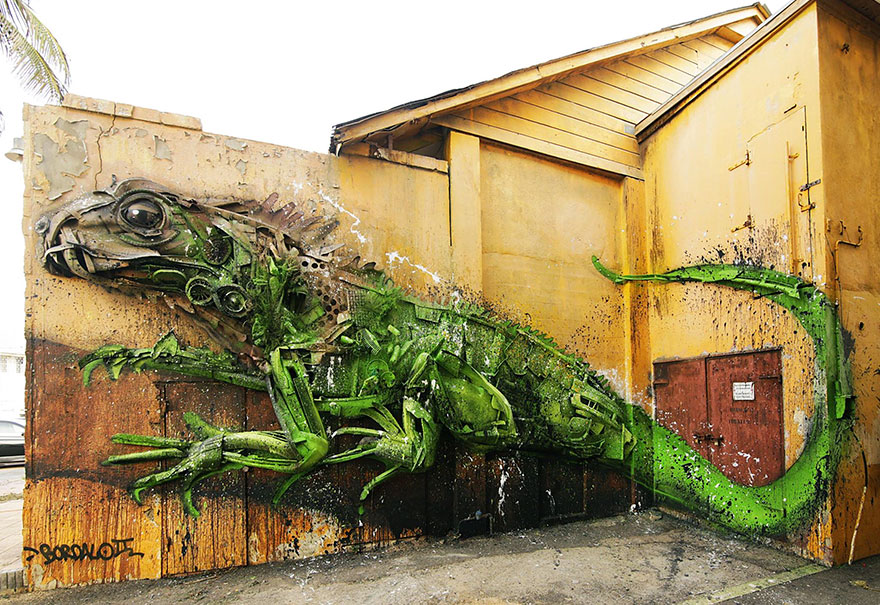 Creative trash animal sculpture artur bordalo Creative Solutions To Remind Us About Pollution