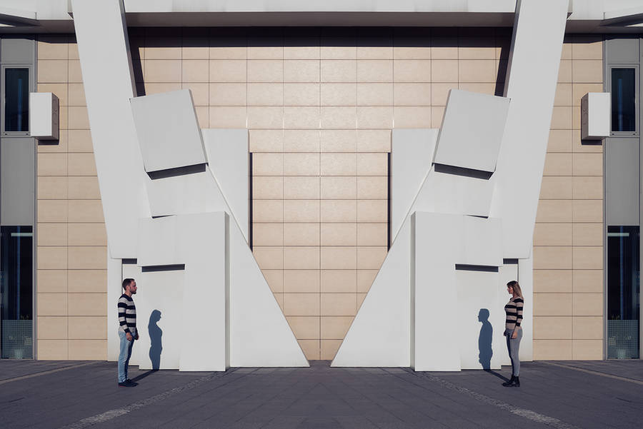 Creative Couples Photography Ideas Beauty Symmetrical Pictures of a Couple by Zsolt Hlinka