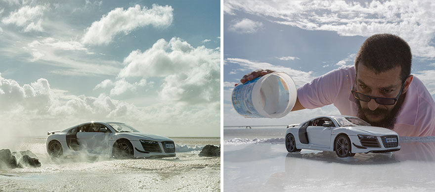 Creative Miniature Photography by Felix Hernandez Rodriguez Felix Hernandez Rodriguez Uses a Miniature Audi R8 to Capture Their $160,000 Real Life Car