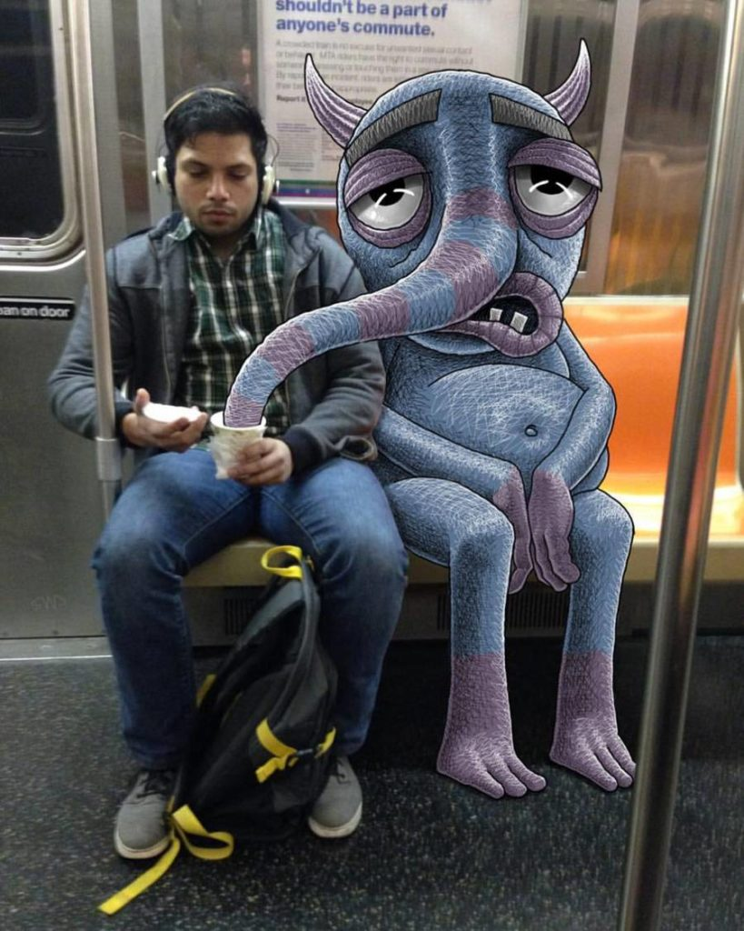 Funny Monsters Doodles in New York Subway by Ben Rubin 99 819x1024 Funny Monsters Doodles in New York Subway by Ben Rubin